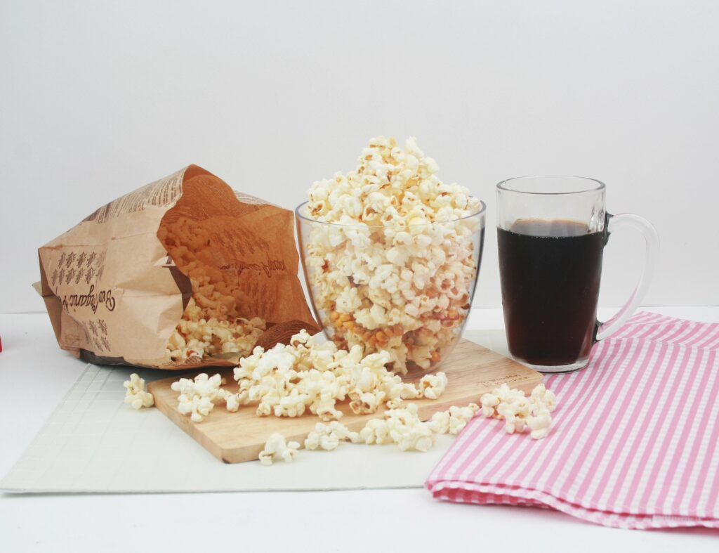 Popcorn and soda. Soda can irritate your bladder.